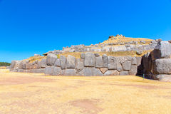 Inca Wall in SAQSAYWAMAN, Peru, South America. Example of polygonal masonry. The famous 32 angles stone Stock Photos