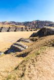 Inca Wall in SAQSAYWAMAN, Peru, South America. Example of polygonal masonry. Stock Photos