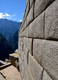 Inca Wall - Side of a Temple on Machu Picchu Stock Photos