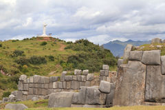 Inca Walls and Jesus Royalty Free Stock Photo
