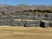 Inca walls and terraces at Saqsaywaman, Cusco, Peru Royalty Free Stock Photos