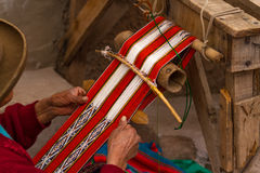 Inca Woman Making Cloth Royalty Free Stock Images