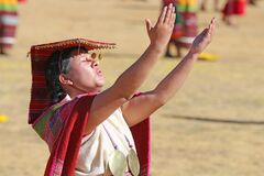 Inca worshiping the sun at the Inti Raymi celebration in Cusco, Peru