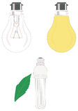 Incadescent Bulb and CFL. Detailed illustration of incandescent lamp / bulb and environmental-frinedly compact fluorescent lamp (CFL Royalty Free Stock Image