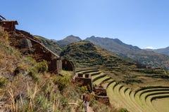 Incan ruiny przy Pisac, Peru Zdjęcia Royalty Free