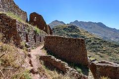 Incan ruiny przy Pisac, Peru Zdjęcia Stock