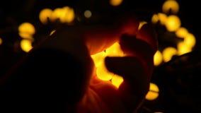 Incandescência amarela brilhante das bolas Fotografia de Stock