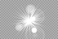 A incandescência branca clara explode em um fundo transparente Partículas de poeira mágicas efervescentes Estrela brilhante ilustração do vetor