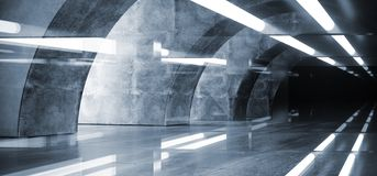 A incandesc?ncia branca conduziu a garagem subterr?nea Hall Empty Futuristic do corredor escuro reflexivo concreto oval do Grunge ilustração do vetor