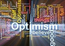 Incandescência da nuvem da palavra do optimismo Fotografia de Stock Royalty Free
