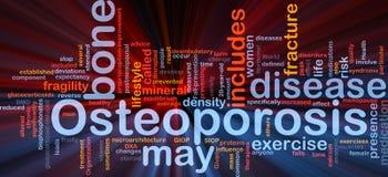 Incandescência do conceito do fundo do osso de Osteoperosis ilustração stock