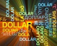 Incandescência multilíngue do conceito do fundo do wordcloud do dólar ilustração do vetor