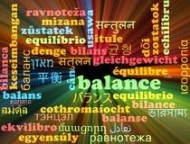 Incandescência multilíngue do conceito do fundo do wordcloud do equilíbrio Foto de Stock Royalty Free