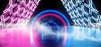 Incandescência subterrânea do néon do círculo da mostra do túnel da estrutura da construção do metal de Sci Fi Asphalt Futuristic ilustração stock