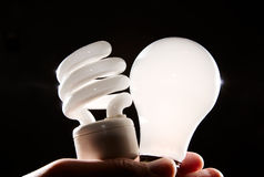 Free Incandescent And Cfl Lightbulb On Black Stock Images - 4794684