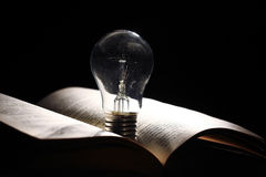 Incandescent bulb with book Stock Photo