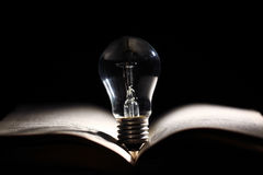 Incandescent bulb on book Royalty Free Stock Images