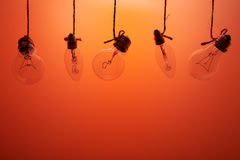 Incandescent bulbs on a orange background Royalty Free Stock Images