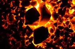 Incandescent charcoal anthracite. Royalty Free Stock Image