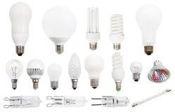 Incandescent, compact fluorescent, halogen lamps. Set of incandescent, compact fluorescent, halogen, LED light bulbs isolated on white background royalty free stock image