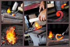 Incandescent element in the smithy Stock Photos