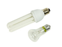 Incandescent and fluorescent lamps Royalty Free Stock Image
