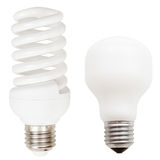 Incandescent and helical fluorescent light bulbs Royalty Free Stock Image
