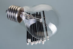 Incandescent lamp. It does not light on gray Stock Image