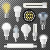 Incandescent lamps light bulbs fluorescent energy  Royalty Free Stock Images