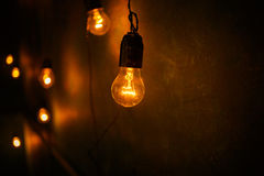 Incandescent lamps in a modern studio. Edison lamp. Incandescent lamps in a modern studio. Cool Edison lamp Stock Photos