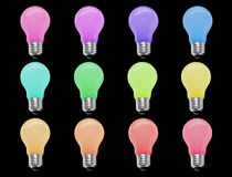 Incandescent light bulb 12 color isolate on black background Royalty Free Stock Photos