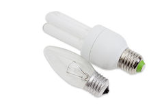 Incandescent light bulb and compact fluorescent lamp Royalty Free Stock Photo