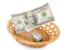 Incandescent light bulb and money in basket Royalty Free Stock Images