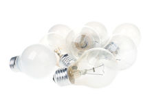 Incandescent light bulbs isolated on white background Stock Photos