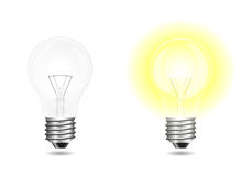 Incandescent light bulbs on and off isolated on white Stock Illustration