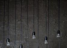 Incandescent lamp. Incandescent light in a dark room and multicolored glare Stock Image