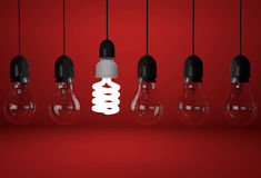Incandescent and one energy saving bulb on red background Stock Photo
