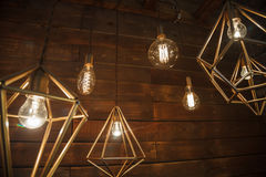 Incandescent retro lamps in a modern style. Edison lamp Stock Images