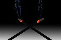 Incense sticks and smoke Royalty Free Stock Photos