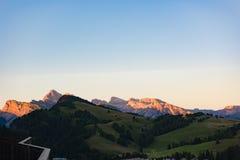 Incandescenza alpina, dolomia Seiser Alm, Italia Fotografie Stock