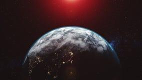 Incandescenza del fascio del sole del chiarore dell'orizzonte del pianeta di orbita terrestre illustrazione vettoriale