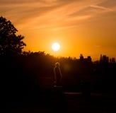 Incandescenza dell'uomo di tramonto Fotografie Stock