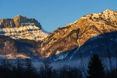 Incandescenza di Alpen vicino a Chamonix de Mont Blanc Fotografie Stock
