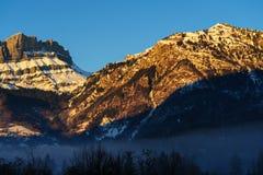 Incandescenza di Alpen vicino a Chamonix de Mont Blanc Immagine Stock