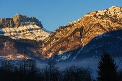 Incandescenza di Alpen vicino a Chamonix de Mont Blanc Fotografia Stock Libera da Diritti