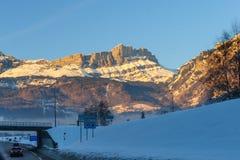 Incandescenza di Alpen vicino a Chamonix de Mont Blanc Immagine Stock Libera da Diritti