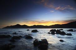 Incandescenza di tramonto al seasdie Immagini Stock