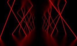 Incandescenza rossa della luce laser nella stanza scura illustrazione 3D immagine stock libera da diritti