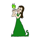 incantesimo comico della colata della donna della strega del fumetto Fotografie Stock Libere da Diritti