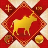 Incanto con il bue cinese dello zodiaco, l'elemento della terra e Yin Symbol, illustrazione di vettore illustrazione di stock